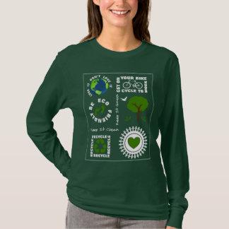 Camiseta Eco amigável vai terra verde do planeta do amor
