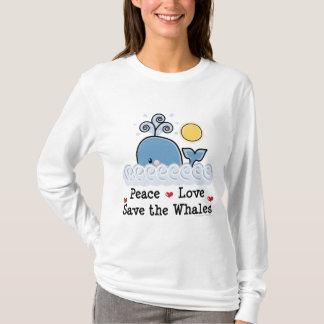 Camiseta Economias do amor da paz o Hoodie das baleias