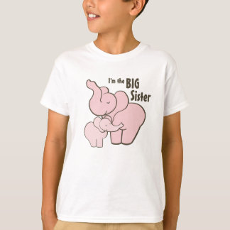 Camiseta Elefante cor-de-rosa da irmã mais velha