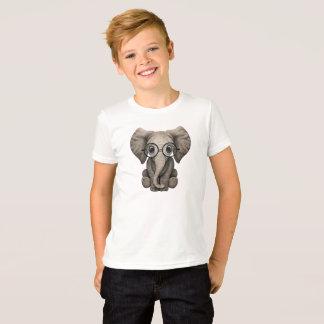 Camiseta Elefante Nerdy do bebê que veste vidros