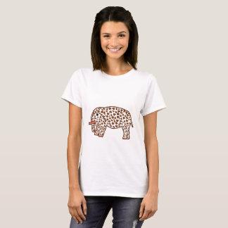 Camiseta elefante no impressão do leopardo