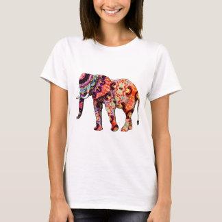 Camiseta Elefante psicadélico colorido do art deco