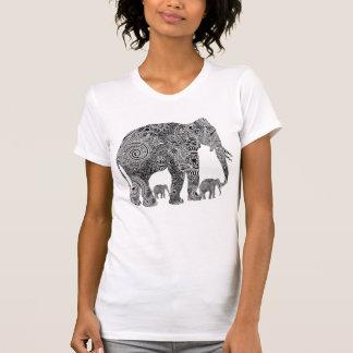 Camiseta Elefantes florais ornamentado pretos & brancos