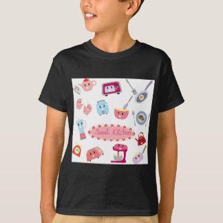 Camiseta Eletricidade cor-de-rosa doce da cozinha e ícone
