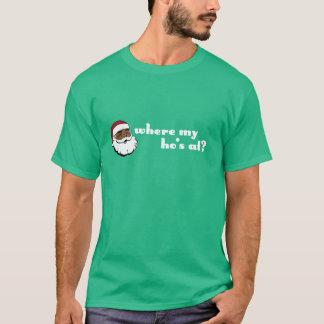 Camiseta Em onde meu Ho? Papai noel preto com letras