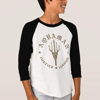 Camiseta Emblema retro da liga de justiça | Aquaman Trident