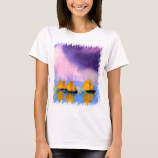 Camiseta Emil Nolde - mar com nuvens e os veleiros violetas