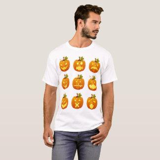Camiseta Emoji das Multi-caras da abóbora do Dia das Bruxas