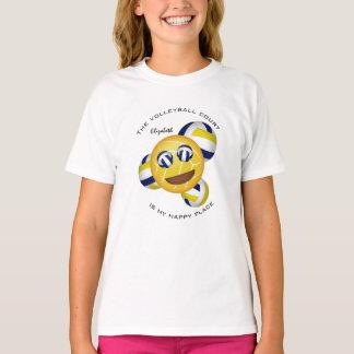 Camiseta emoji de sorriso do lugar feliz da corte de