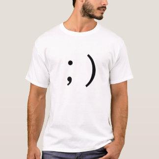 Camiseta ;) Emoticon lateral do texto de Winky do piscar os