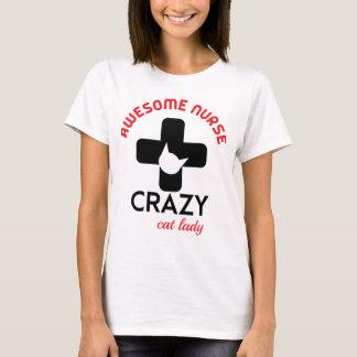 Camiseta Enfermeira impressionante, senhora louca do gato