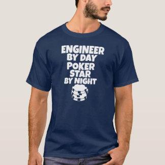 Camiseta Engenheiro em o dia, estrela do póquer em a noite