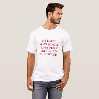 Camiseta engraçada ardente do lugar feliz
