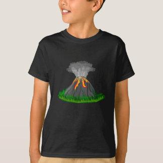 Camiseta erupção e fogo do vulcão