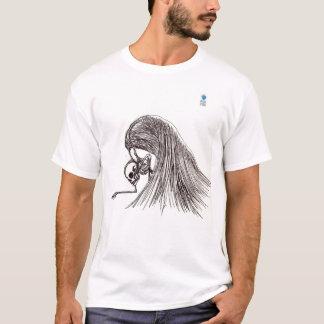 Camiseta esboço do esqueleto e das asas