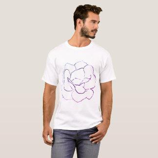 Camiseta Esboço do rosa branco no colorido