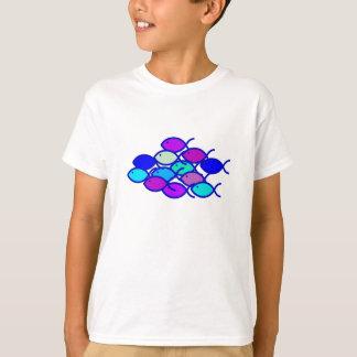 Camiseta Escola cristã dos peixes - roxo e azul