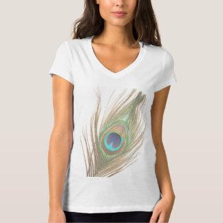 Camiseta Escolha a pena do pavão do fundo