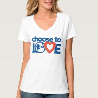 Camiseta Escolha amar o V-pescoço das mulheres