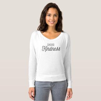 Camiseta Escolha o t-shirt longo da luva da bondade