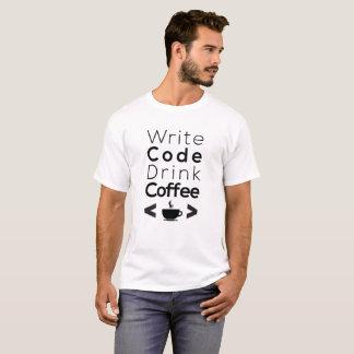 Camiseta Escreva o café da bebida do código - linguagens de