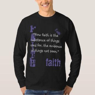 Camiseta Escritura Sleeved longa Heb da fé do t dos homens.