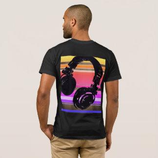 Camiseta esfrie para o DJ, auscultadores com listras