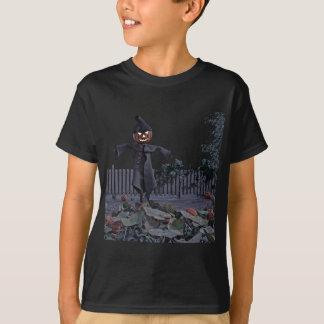 Camiseta Espantalho de Jack O em um remendo da abóbora