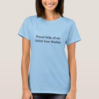 Camiseta Esposa orgulhosa de um trabalhador do ferro da