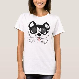 Camiseta espreitar do rouco siberian preto e branco