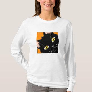 Camiseta Espreitar preto Wearable do gatinho