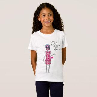 Camiseta Esqueleto cor-de-rosa do crânio dos doces do texto