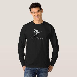 Camiseta Esqui de Telemark. Coma, Tele, sono, repetição