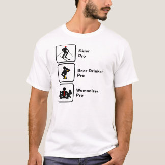 Camiseta Esquiador, bebedor de cerveja, Womanizer