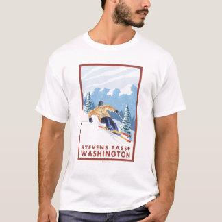Camiseta Esquiador da neve de Downhhill - passagem de