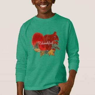 Camiseta Esquilo vermelho bonito rústico da queda grata