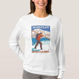 Camiseta Esquis da neve do carregando do esquiador -