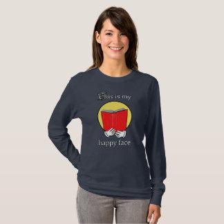 Camiseta Esta é minha cara feliz - Emoji que lê um livro