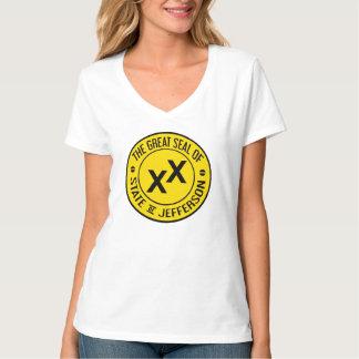 Camiseta Estado do V-Pescoço das senhoras de t-shirt de