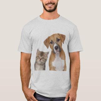 Camiseta estampada Cão e Gato