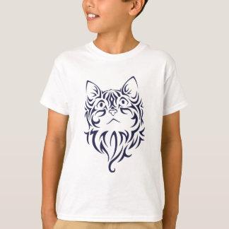 Camiseta Estêncil dianteiro da cara do gatinho do gato do