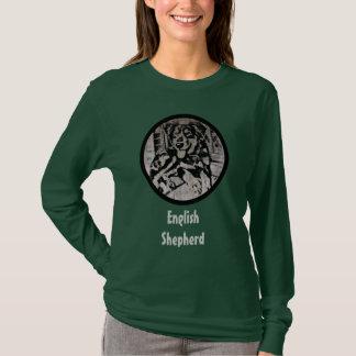 Camiseta Estêncil inglês do filhote de cachorro do pastor