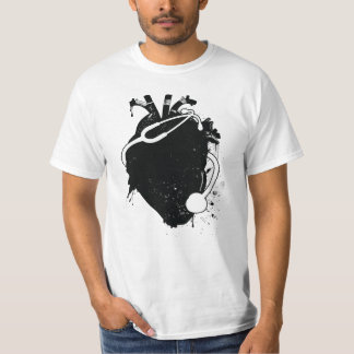Camiseta estetoscópio anatômico do coração