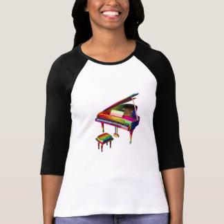 Camiseta Estilo colorido do piano com cores do arco-íris