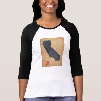 Camiseta Estilo de jeans da sarja de Nimes do mapa de