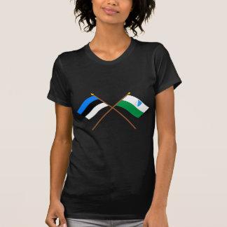 Camiseta Estónia e bandeiras cruzadas Valga