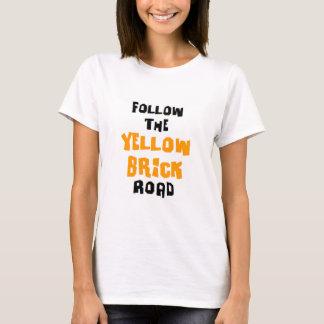 Camiseta estrada amarela do tijolo