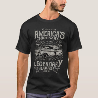 Camiseta Estrada do carro | Hotrod americano clássico do