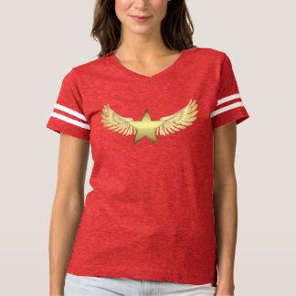 Camiseta Estrela da asa do ouro do t-shirt do futebol das
