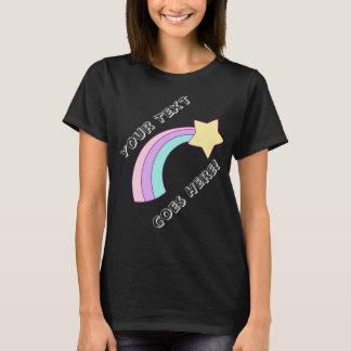 Camiseta Estrela de tiro bonito do arco-íris com seu texto
